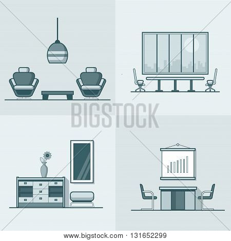 Office meeting conference room table chair armchair night dance club living room interior indoor set. Linear stroke outline flat style vector icons. Monochrome icon collection.