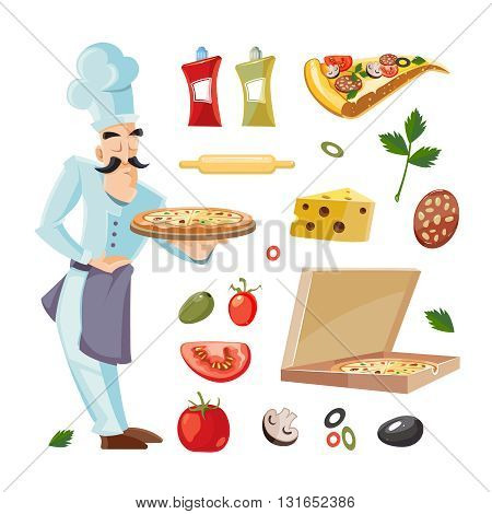 Vector Cartoon set with ingridients of pizza. Tomato, cheese and mushrooms isolate on white background. Cook offers pizza on tray