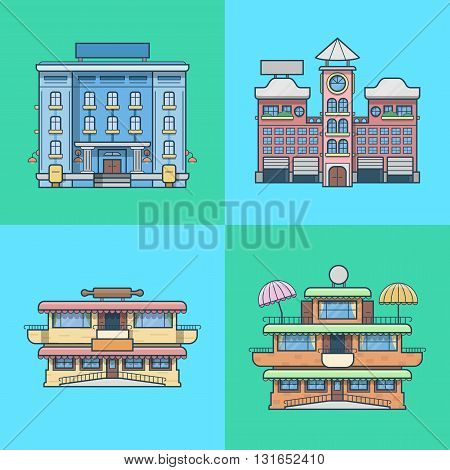 City town houses hotel cafe restaurant terrace bakery architecture building set. Linear stroke outline flat style vector icons. Color icon collection.