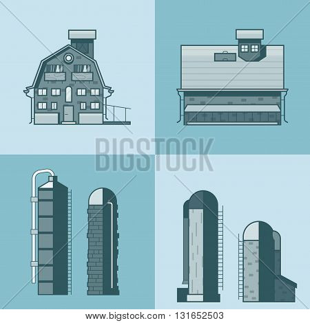 Farm barn store house warehouse granary hangar water tower architecture building set. Linear stroke outline flat style vector icons. Mono color icon collection.