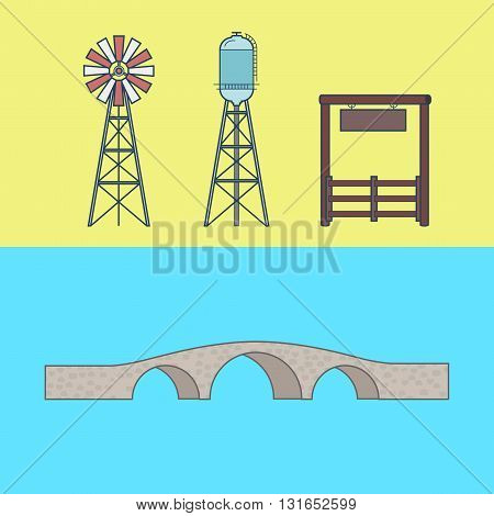 Farm rancho entrance countryside water tower bridge element architecture building set. Linear stroke outline flat style vector icons. Color icon collection.