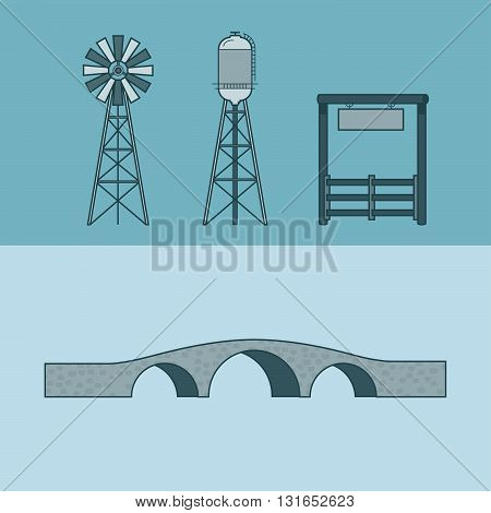 Farm rancho entrance countryside water tower bridge element architecture building set. Linear stroke outline flat style vector icons. Monochrome icon collection.