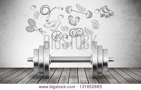Fitness concept with dumbbell and sports inventory drawing on concrete wall. 3D Rendering