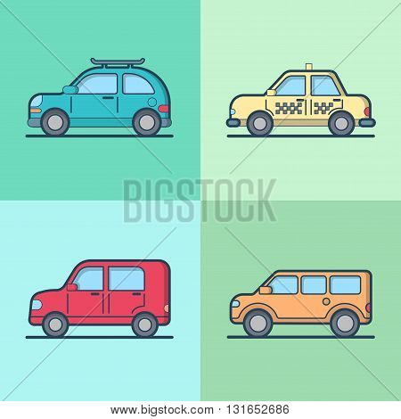 Car automobile taxi cab jeep SUV vehicle sedan hatchback cool transport set. Linear stroke outline flat style vector icons. Color outlined icon collection.