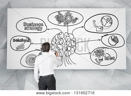 Brainstorming concept with businessman drawing sketch on whiteboard hanging on patterned wall