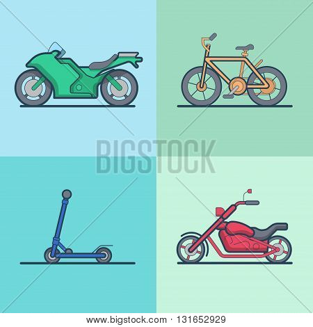 Motorbike bicycle kick board scooter chopper transport set. Linear stroke outline flat style vector icons. Color outlined icon collection.