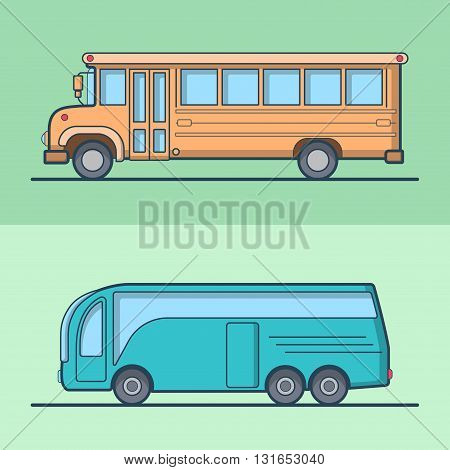 Modern intercity school bus retro vintage schoolbus public transport set. Linear stroke outline flat style vector icons. Color outlined icon collection.
