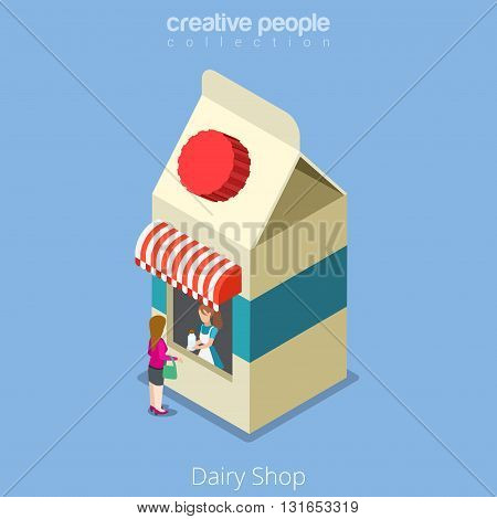Dairy shop building realty real estate concept. Flat 3d isometry isometric style web site app icon set concept vector illustration. Creative people collection.