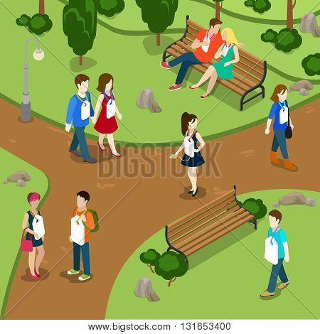 Labeling people call names gossip concept. People in park labels hanging on neck. Flat 3d isometry isometric style web site app icon set concept vector illustration. Creative people collection.
