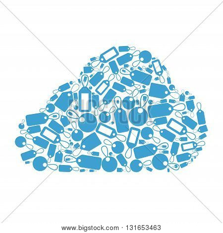 Tag cloud concept. Flat style cloud shape formed by little tags.