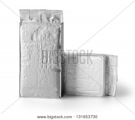 blank silver product packaging on white background