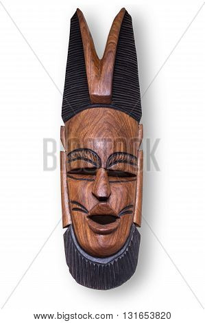African wooden mask hand carved with clipping path