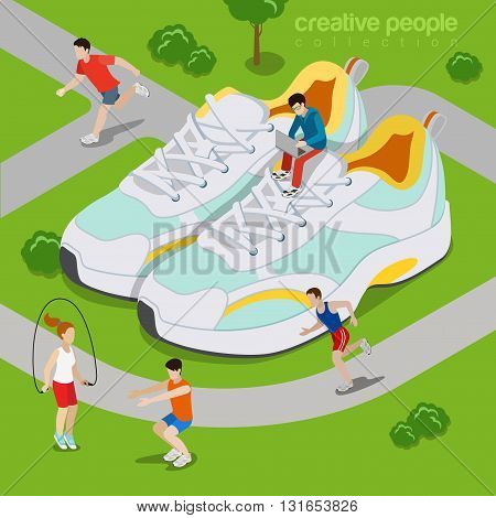 Running outdoor sports lifestyle concept. Flat 3d isometry isometric style web site vector illustration. Micro sportsman exercise run park around huge sneakers sport shoes. Creative people collection.