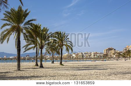 Plma de Mallorca Spain - March 20 2016: Beautiful view of Platja de Palma de Mallorca Baleares Spain