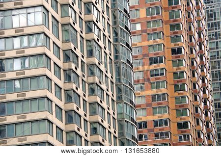 Architectural background view of  NYC apartment building windows