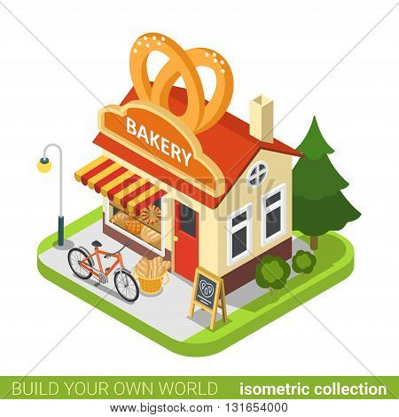 Bakery shop pretzels shape building cafe restaurant realty real estate concept. Flat 3d isometry isometric style web site app icon concept vector illustration. Build your own world collection.