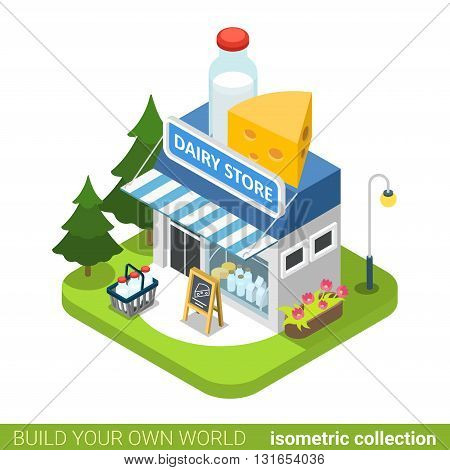 Dairy shop building realty real estate concept. Flat 3d isometry isometric style web site app icon set concept vector illustration. Build your own world architecture collection.