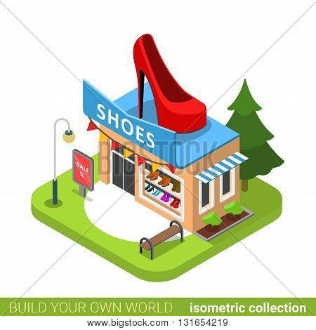 Shoes boots fashion boutique shop shoe shape building realty real estate concept. Flat 3d isometry isometric style web site app icon vector illustration. Build your own world architecture collection.