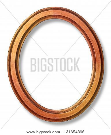 old oval picture frame wooden isolated white background with clipping path