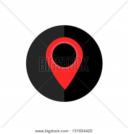 Map Pointer Icon in Circle Frame for Web App Internet Smartphone Interface. Location Symbol. Vector Button
