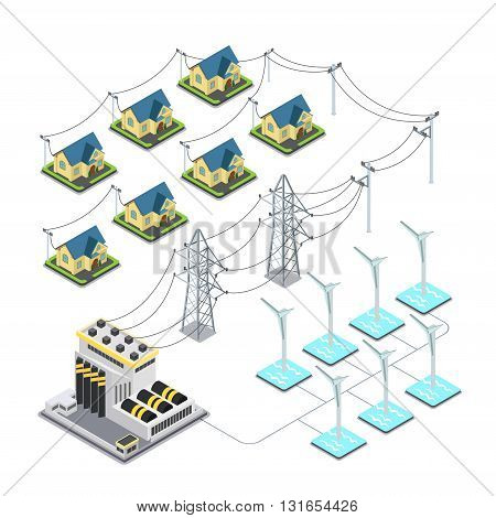 Sea wind energy propeller green village power supply cycle infographics concept. Flat 3d isometry isometric style web site vector illustration. Ecology eco power lifestyle sustainable world collection