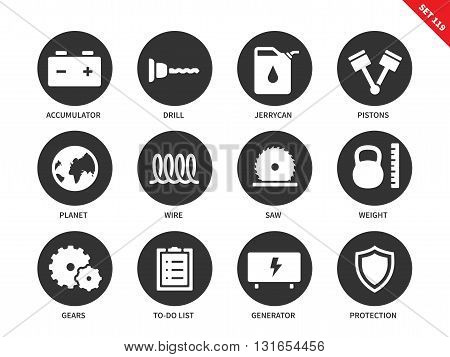 Tools vector icons set. Building and repair concept. Different equipment, accumulator, drill, pistons, wire, jerrycan, saw, generator, gears. Isolated on white background