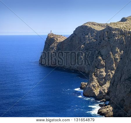Lighthouse at Cape Formentor in the Coast of North Mallorca Spain ( Balearic Islands )