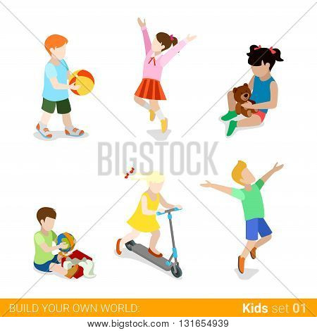 Happy children at play parenting flat web infographic concept vector icon set. Playing jumping kick board riding teddy bear gift present unpacking. Creative people collection.