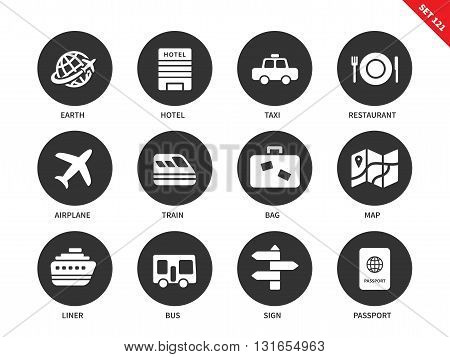 Travel vector icons set. Journey and transportation items, earth, hotel, taxi, restaurant, airplane, train, bag, map, liner, bus, passport. Isolated on white background
