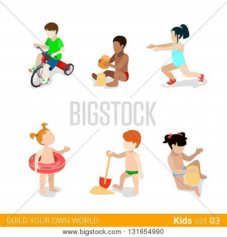 Active beach vacation children at play parenting flat web infographic concept vector icon set. Riding bicycle sand building yoga swim ring. Creative people collection.