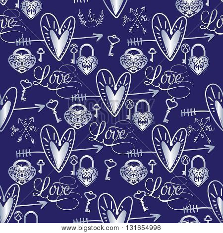 Seamless pattern with silver love elements on the dark blue background.(Can be repeated and scaled in any size.)