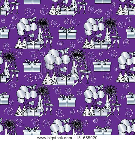Seamless festive pattern. Silver balloons, champagne, wine glasses, garlands, gifts, Caps, heart, candy and fireworks are on the purple background. (Can be repeated and scaled in any size.)