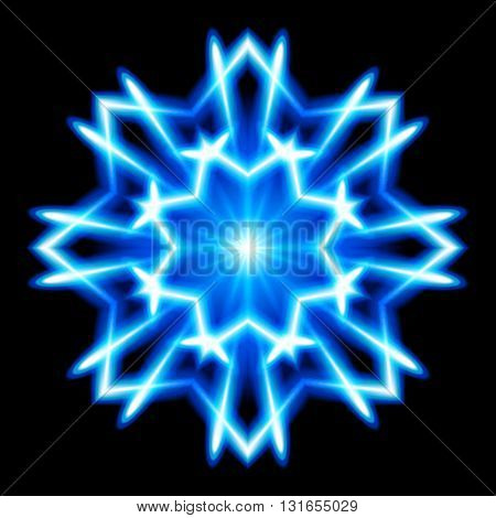 Blue and white snowflake. Bright. Black background.