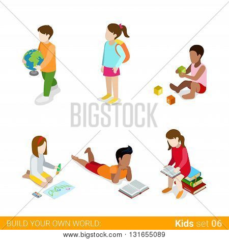 Children learning studying making classes homework flat web infographic concept vector icon set. Creative people collection.