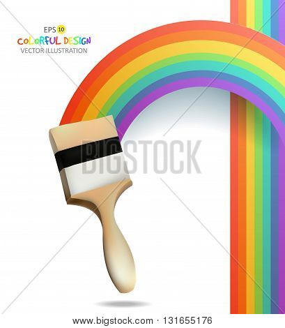 Rainbow with brush. Abstract Colorfull background. Vector illustration.