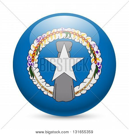 Flag of Northern Mariana Islands as round glossy icon. Button with flag design