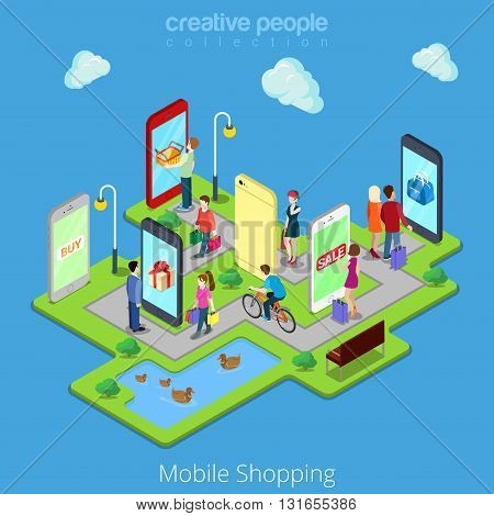 Flat 3d web isometric mobile e-commerce electronic business online mobile shopping sales infographic concept vector. People walk streets between stores boutiques inside smartphones tablets.