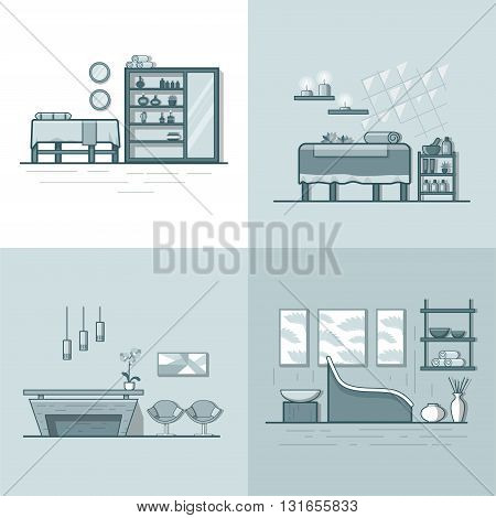 Spa salon beauty shop room interior indoor set. Linear multicolor stroke outline flat style vector icons. Monochrome icon collection.