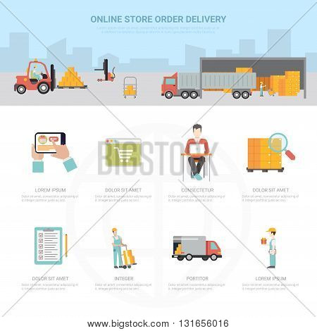 Online store order delivery infographics shipping transportation e-commerce business info graphic. Flat style web site app icon set concept vector illustration. Creative trendy collection.