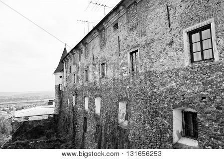 Butt Of Castle Walls Palanok, Mukachevo Transcarpathian, Ukraine. Black And White