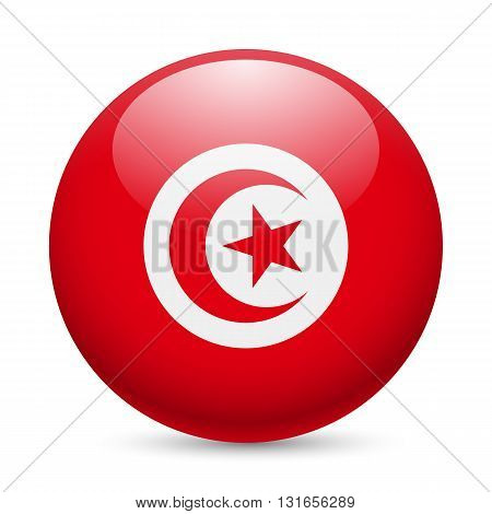 Flag of Tunisia as round glossy icon. Button with Tunisian flag