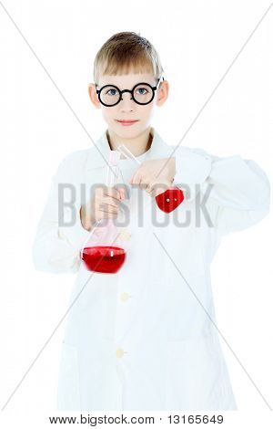 Shot of a little boy in a doctors uniform. Isolated over white background.