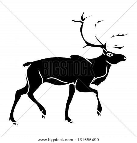 Black deer silhouette on a white background. Abstract illustration vector