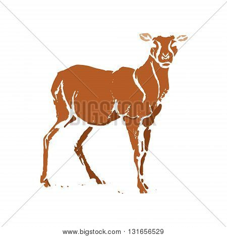 Silhouette forest deer brown. Vector on white background.
