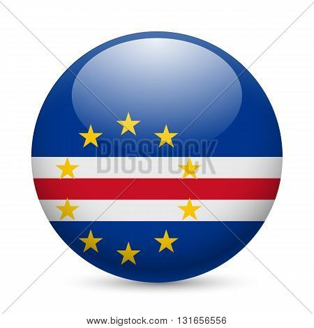 Flag of Cape Verde as round glossy icon. Button with flag design