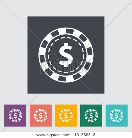 Gambling chips. Single flat icon on the button. Vector illustration.