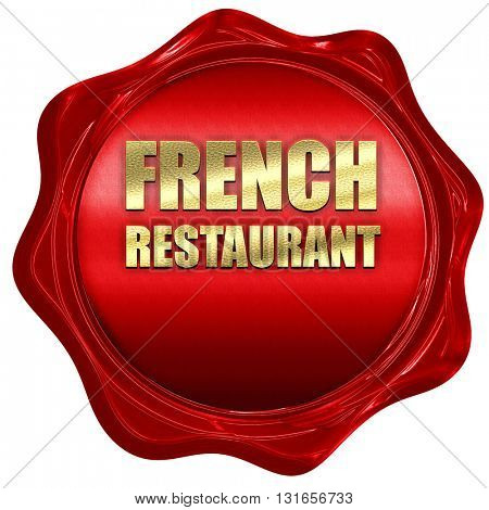 Delicious french cuisine, 3D rendering, a red wax seal