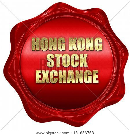 hong kong stock exchange, 3D rendering, a red wax seal