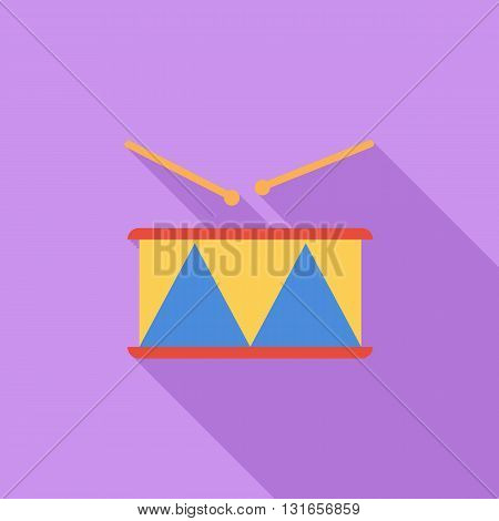 Drum icon. Flat vector related icon with long shadow for web and mobile applications. It can be used as - logo, pictogram, icon, infographic element. Vector Illustration.