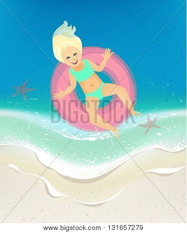 girl in a buoy floating swimming in the sea waves